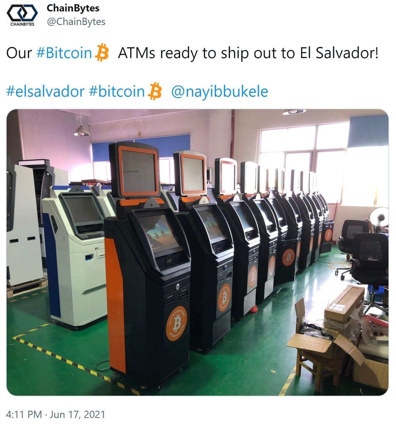 Chainbytes Bringing Bitcoin ATMs to El Salvador, Launching Manufacturing Hub