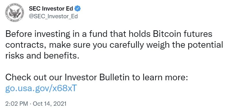 SEC Tweets About Funds Holding Bitcoin Futures — Optimism Sparked of Imminent Bitcoin ETF Approvals